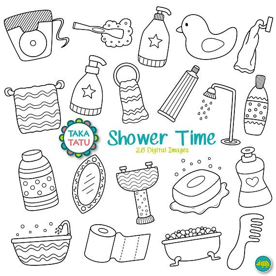 Shower Time Digital Stamp Pack Black and White Clipart