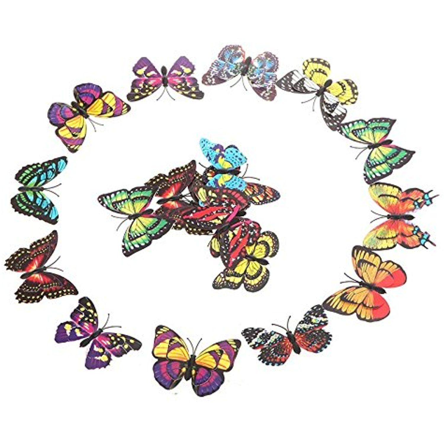 Ttrees pcs cm d artificial butterfly pin clip double wing for