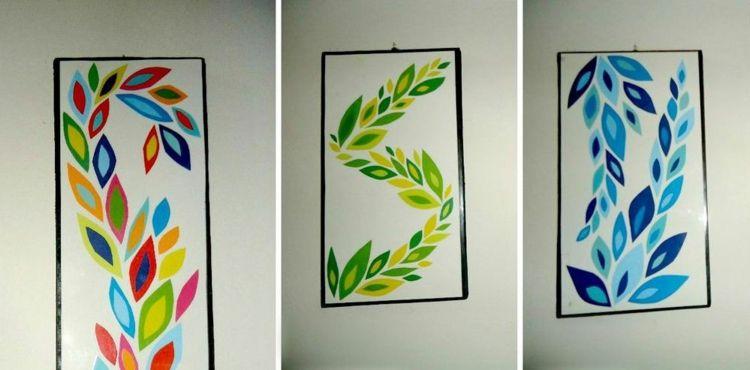 wanddekoration selber machen papier idee blaetter gruen blau bunt