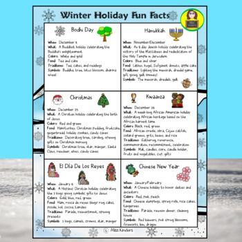 Free Winter Holidays Around The World Fact Sheet For Bodhi Day