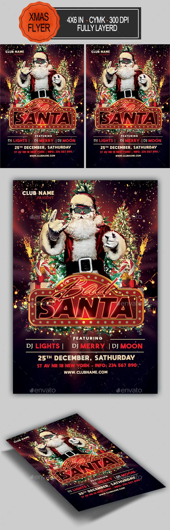 Bad Santa Flyer Template. Fully editable professional template for a holiday flyer. #FlyerTemplate #flyer #holiday #GraphicTemplate #design #PrintDesign #BadSanta #christmas #ChristmasBash #ChristmasCard #ChristmasFlyer #ChristmasParty #ChristmasPoster #ChristmasTree #GiftBox #merry #MerryChristmas #navidad #PapaNoel #poster #psd #santa #SantaClaus #snow #stefania #template #ToyDrive #winter #xmas #XmasParty