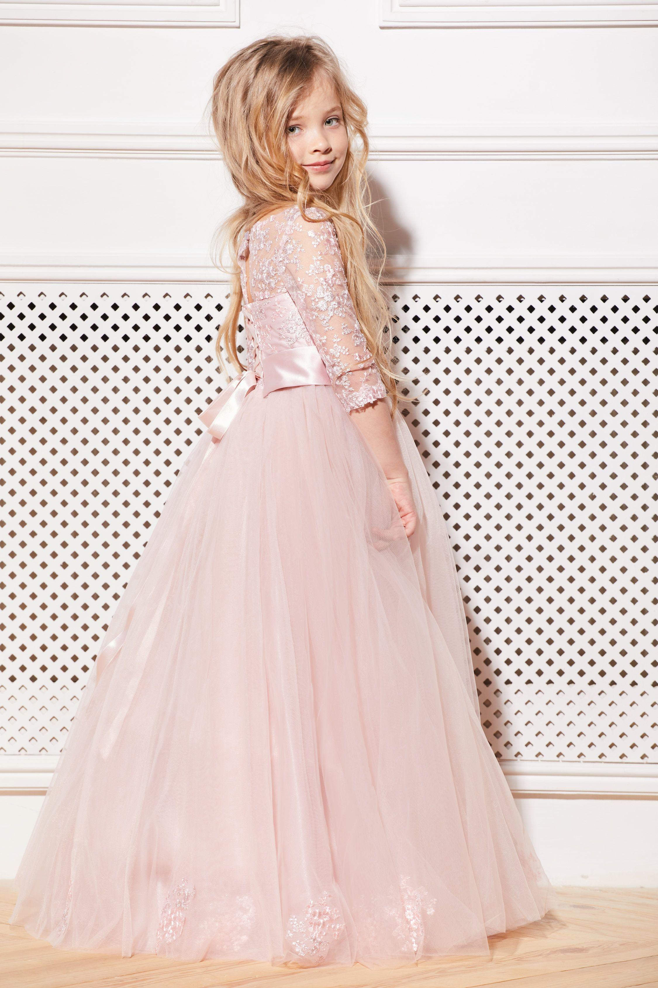 Blush flower girl dress cream tulle pink tutu birthday