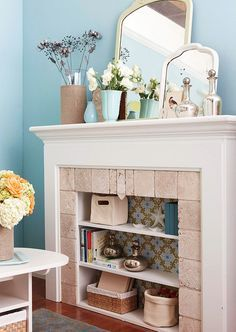 15 Clever Ways To Decorate Your Non Working Fireplace Home Fireplace Bookshelves Unused Fireplace