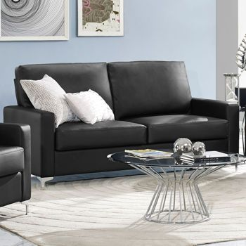 Archer Black Bonded Leather Sofa Costco Ca