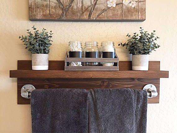 Photo of Rustic Industrial Bath Towel Rack, Bathroom Shelf, Rustic Home Decor, Industrial Shelf, Rustic Wooden Shelf, Industrial Decor, Towel Rack