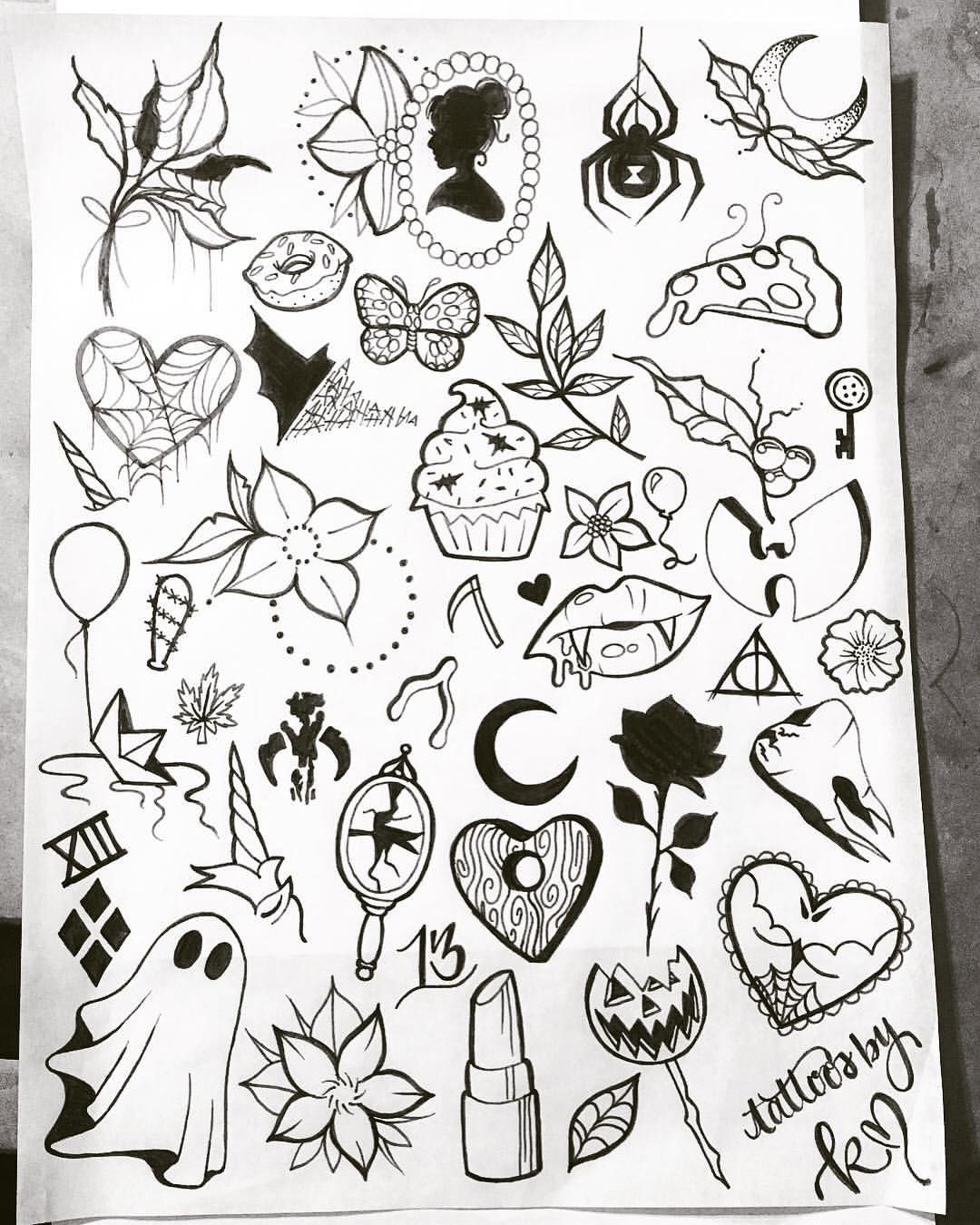 2 X 2 Tattoo: My Previous Flash Sheets And My NEW Halloween Flash Sheet