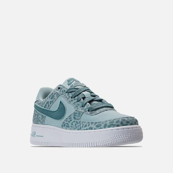 2f77ba1446 Three Quarter view of Girls' Grade School Nike Air Force 1 LV8 Casual Shoes  in Ocean Bliss/Noise Aqua/White