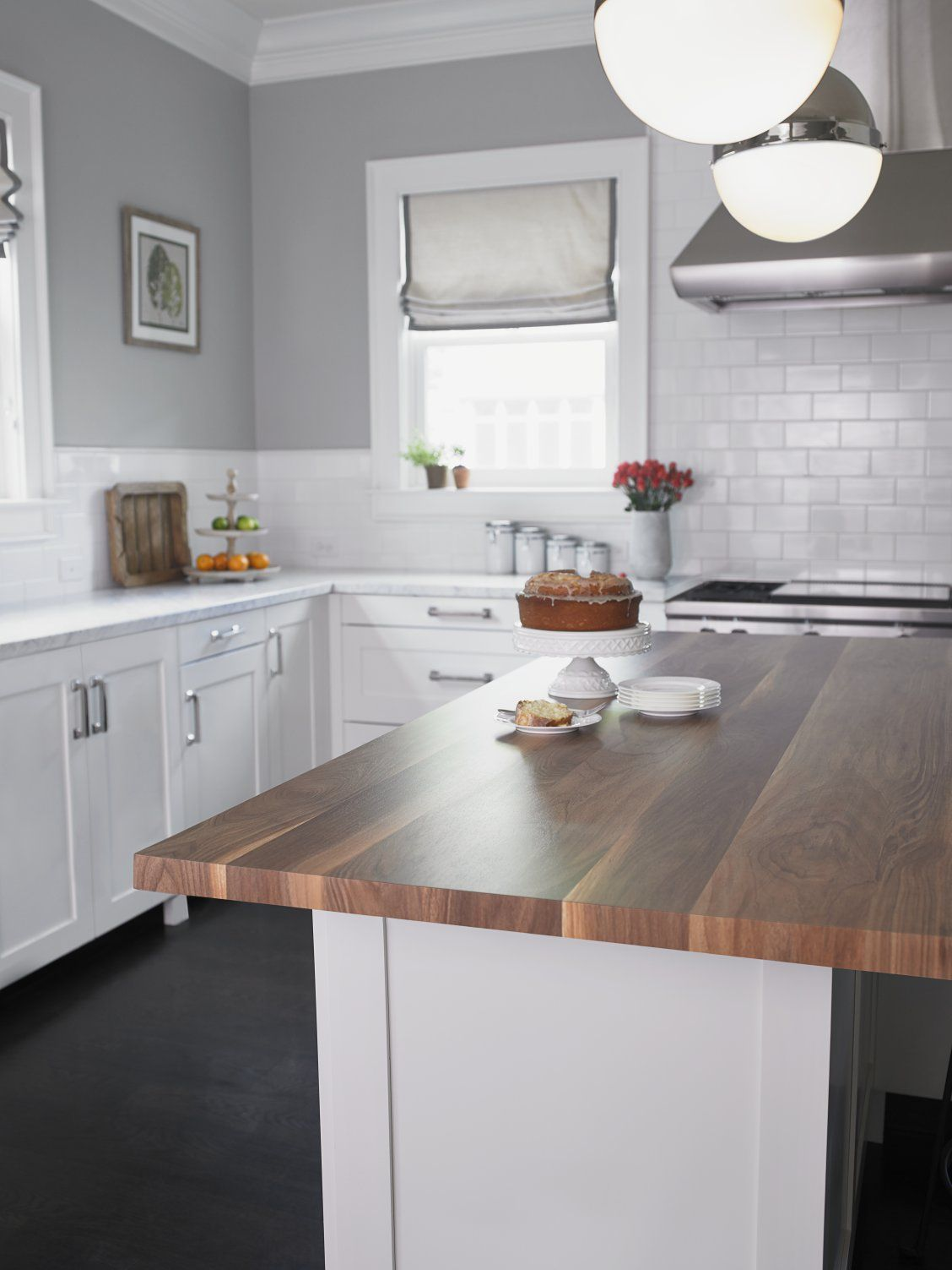 Kitchen With White Cabinets And 180fx® Laminate Wide Planked Walnut Island  Click Through To Get