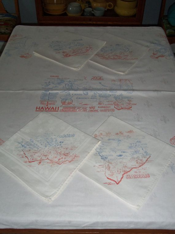 Vintage Hawaii Souvenir Screen Printed Linen Damask by kgroah, $60.00