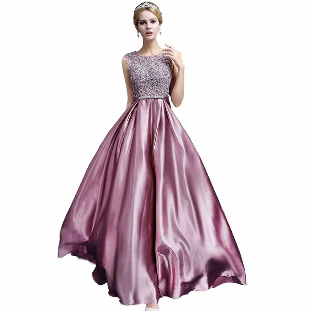 Lamya lace silk satin long party evening dresses with crystal belt