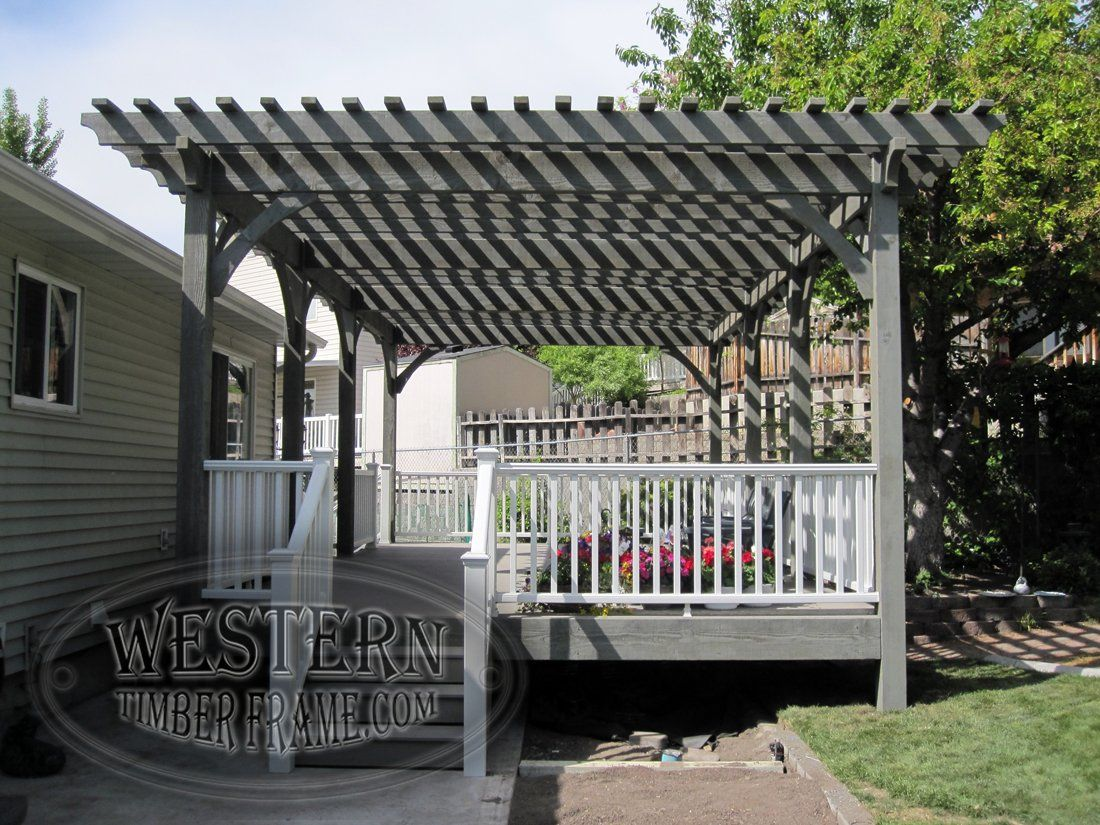 Free Standing Pergola With Canyon Gray Stain And Crescent