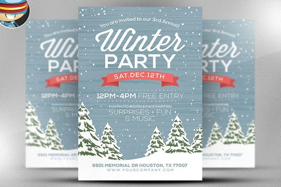 Rustic Winter Flyer Template By Flyerheroes On Creativemarket
