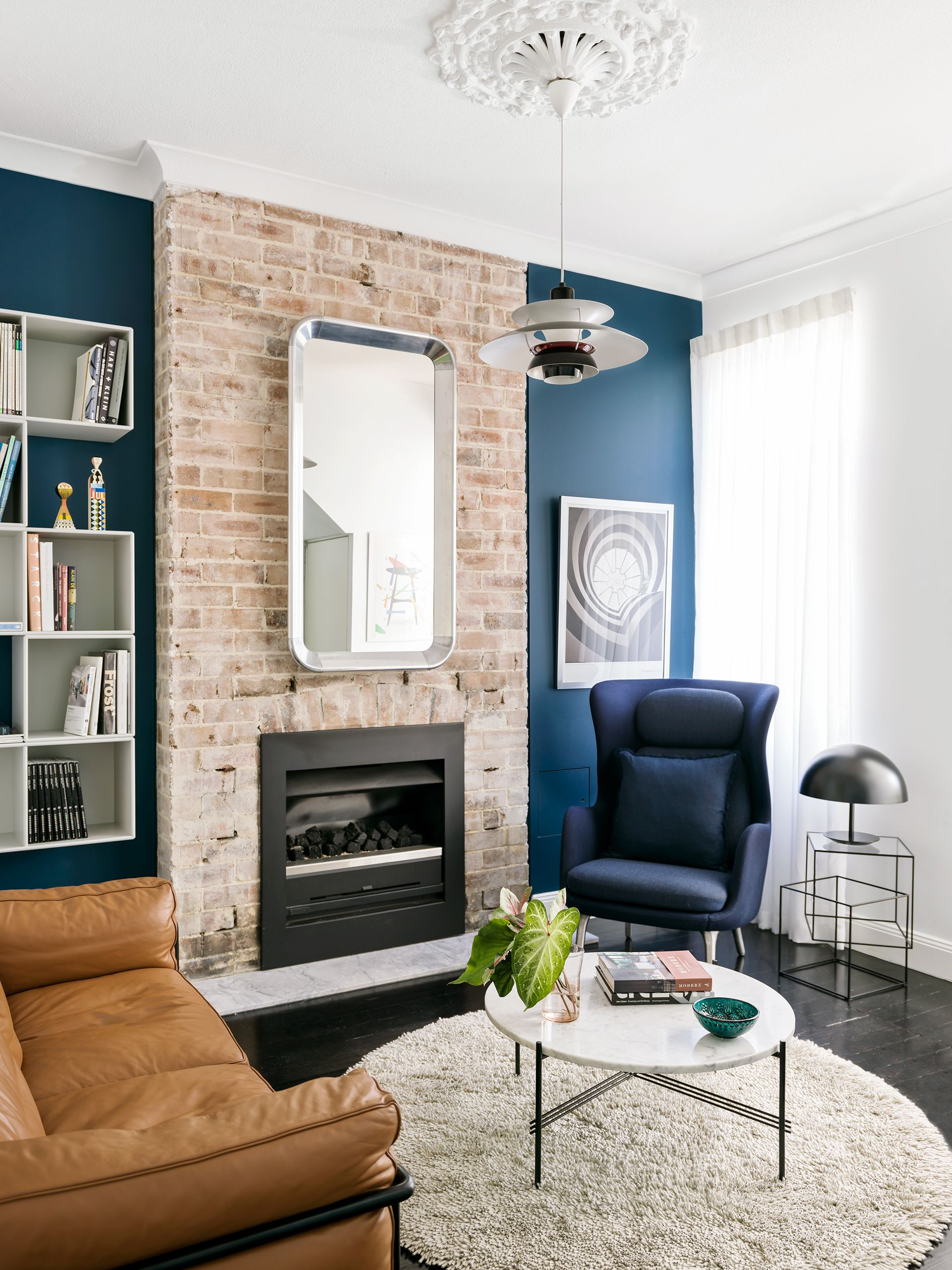 Best Narrow Terrace Renovation Feature Wall Living Room Blue 400 x 300