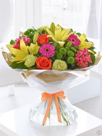 Get Well Vibrant Hand Tied Green Carnation Birthday Flowers Arrangements Birthday Flower Delivery