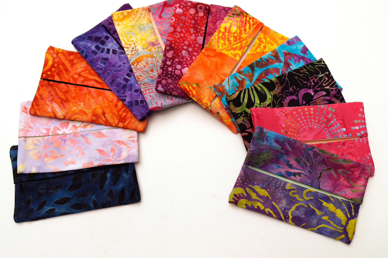Travel Tissue Holder in Colorful Batik Fabrics, Pocket
