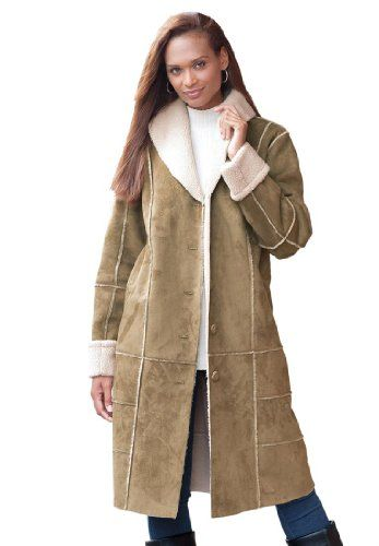 Jessica London Women's Plus Size Faux Shearling Long Coat Tan,14 ...