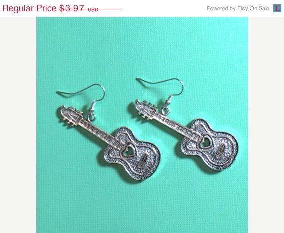 ON SALE Silver Guitar Earrings by RoseyJohnny on Etsy, $3.77