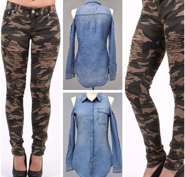 Camouflage ripped jeans and Jean cut shirt