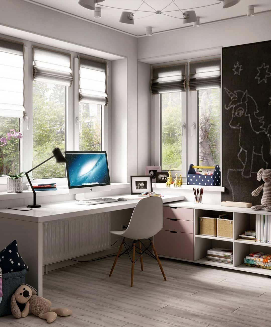 Детская комната с двумя окнами. Идеальная о… Genç Odası