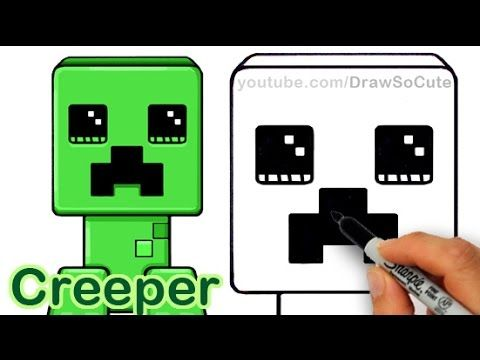 how to draw a minecraft creeper step by step