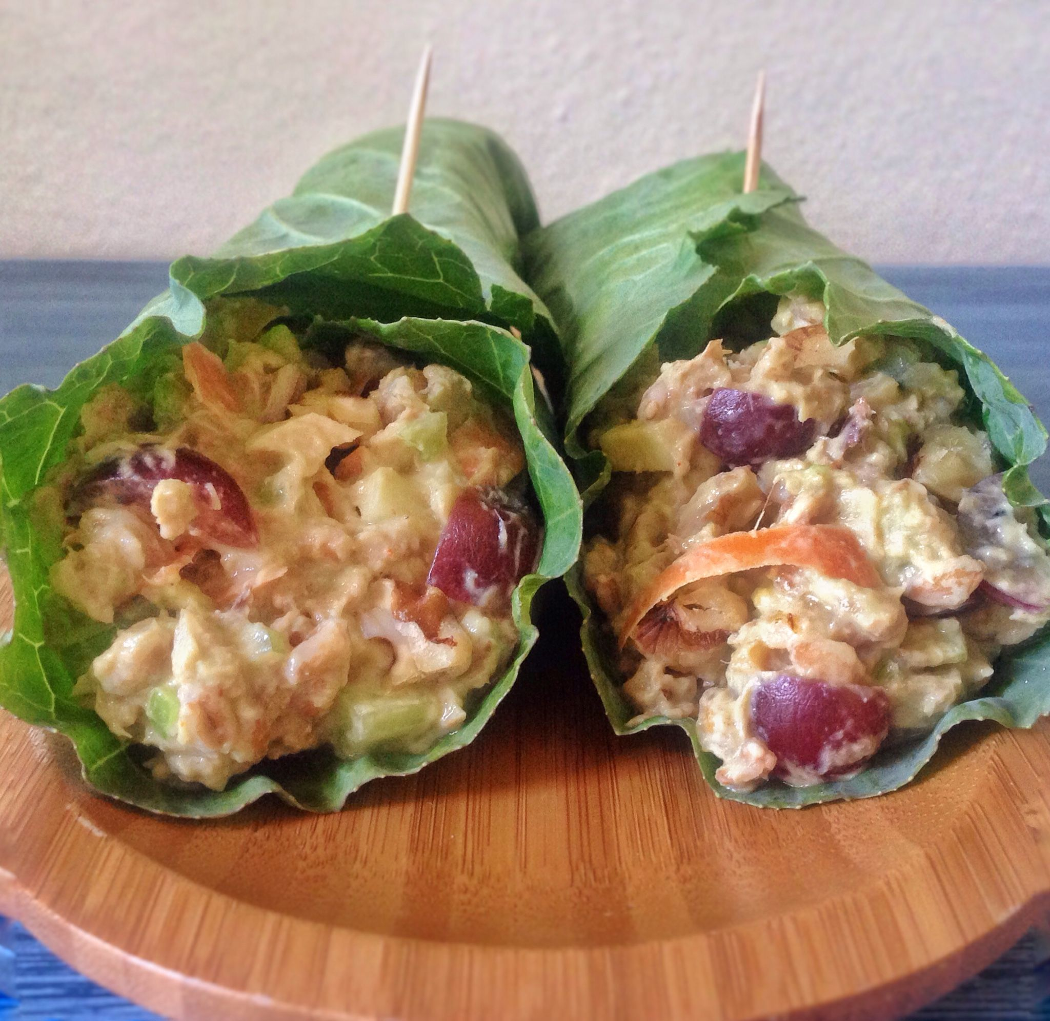 Tuna Waldorf Collard Wraps With Avocado-Cumin Yogurt