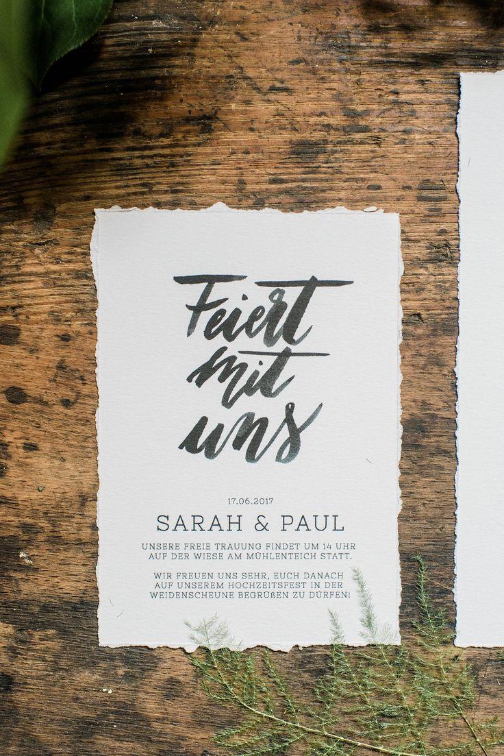 Brush Lettering DIY Einladung fr Hochzeit zum Selber