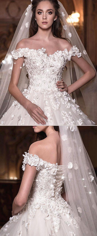 Junoesque tulle offtheshoulder neckline ball gown wedding dress