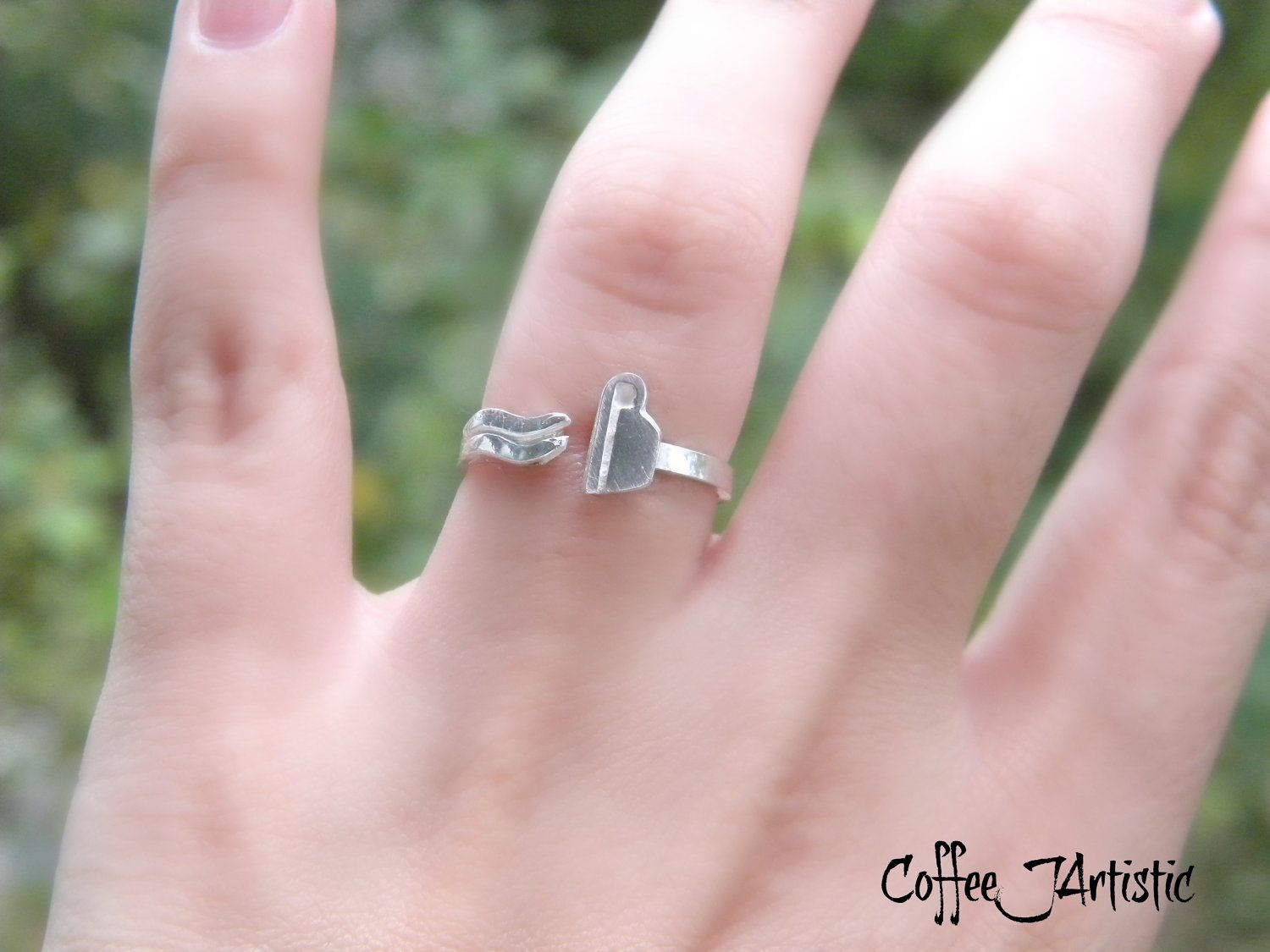 Coffee Lover\'s ring Silver 925 by CoffeeJArtistic on Etsy, $25.00 ...