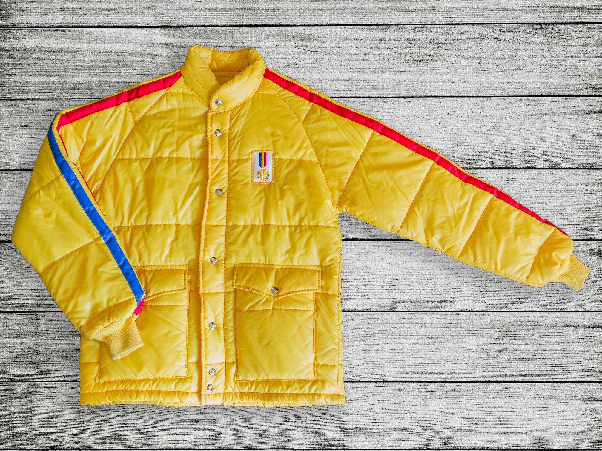 Vintage 80s Yellow Malcolm Smith Racking Jacket Vintage Etsy Yellow Puffer Jacket Vintage Jacket Jackets