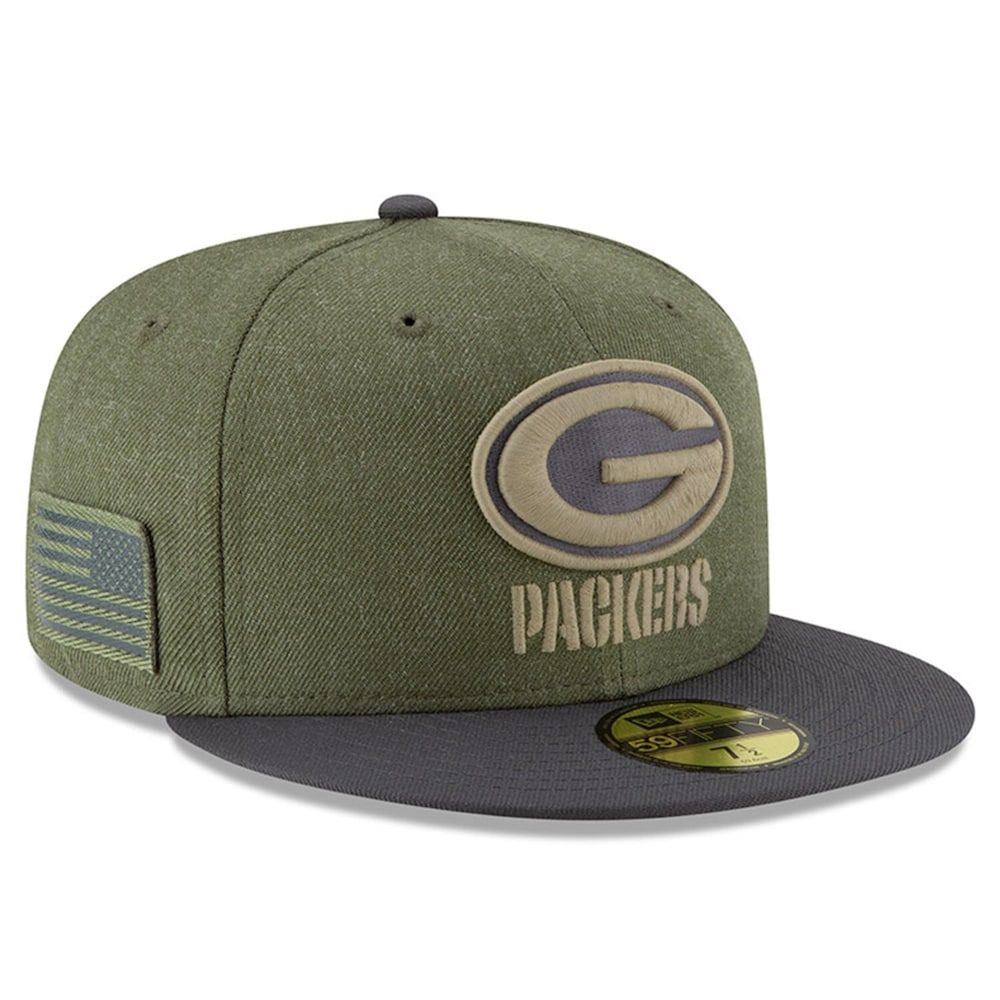 Men's New Era Olive/Gray Green Bay Packers 2018 Salute to Service Sideline 59FIFTY Fitted Hat #salutetoservice