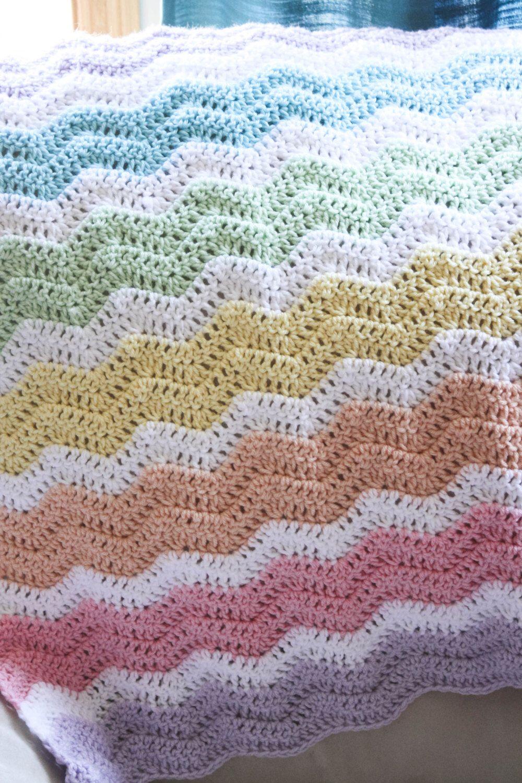 Rainbow Crochet Chevron Baby Blanket by CraftilyEverAfterbyJ on Etsy ...