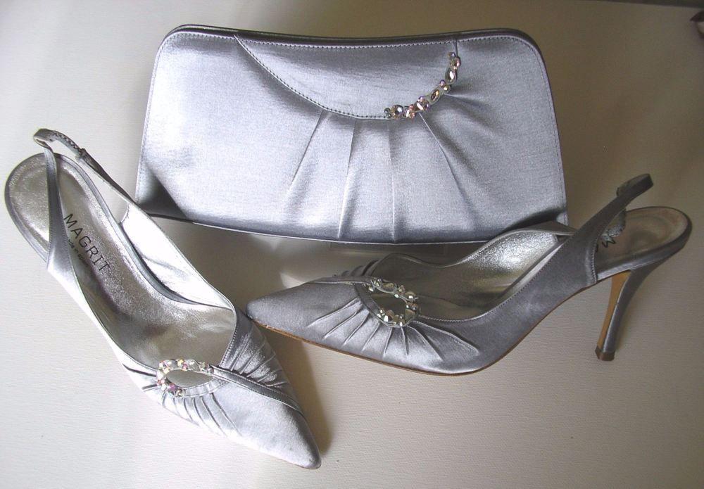 00481ec70583 Magrit silver grey satin shoes matching bag size 4 mother bride ...