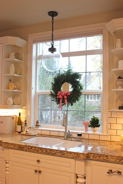 Forever Cottage Our Christmas Home Kitchen Sink Window Kitchen Sink Lighting Kitchen Window Shelves
