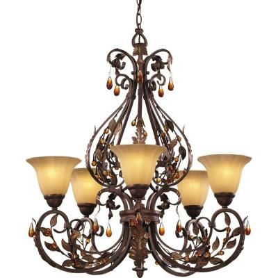 hampton bay cristobal collection royal mahogany 5-light chandelier