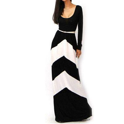 29 90eur Kleid Langarm Mit Geometrischem Muster Schwarz Weiss