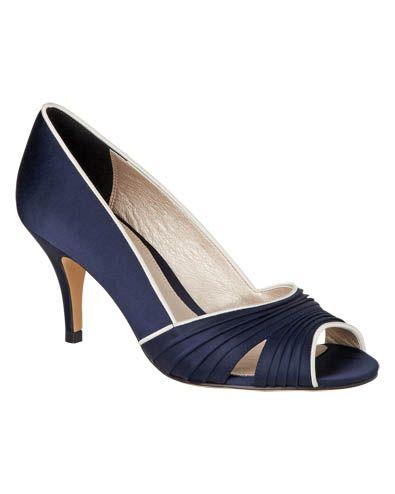 dc7d74c7293 Women s Navy Cream Fia Pleat Peep Toe Shoes
