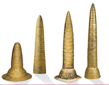 (1) The Golden Hat of Schifferstadt, found in 1835, circa 1400-1300 BCE.    (2) The Avanton Gold Cone,  near Poitiers in 1844, dated circa 1000-900 BCE.    (3) The Golden Cone of Ezelsdorf-Buch, near Nuremberg in 1953, circa 1000-900 BCE; the tallest known specimen at circa 90 centimetres.    (4) The Berlin Gold Hat, likely found in Swabia or Switzerland, dated circa 1000-800 BCE - Museum für Vor- und Frühgeschichte, Berlin, in 199