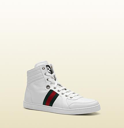 658d8491e39ee Gucci - hi-top lace-up sneaker with interlocking G and signature web detail.  221825ADFX09060
