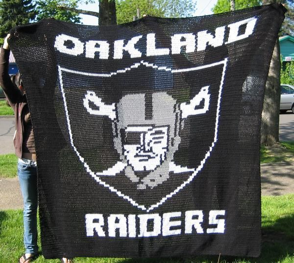 Hand Made Oakland Raiders Queen Size Blanket Made To