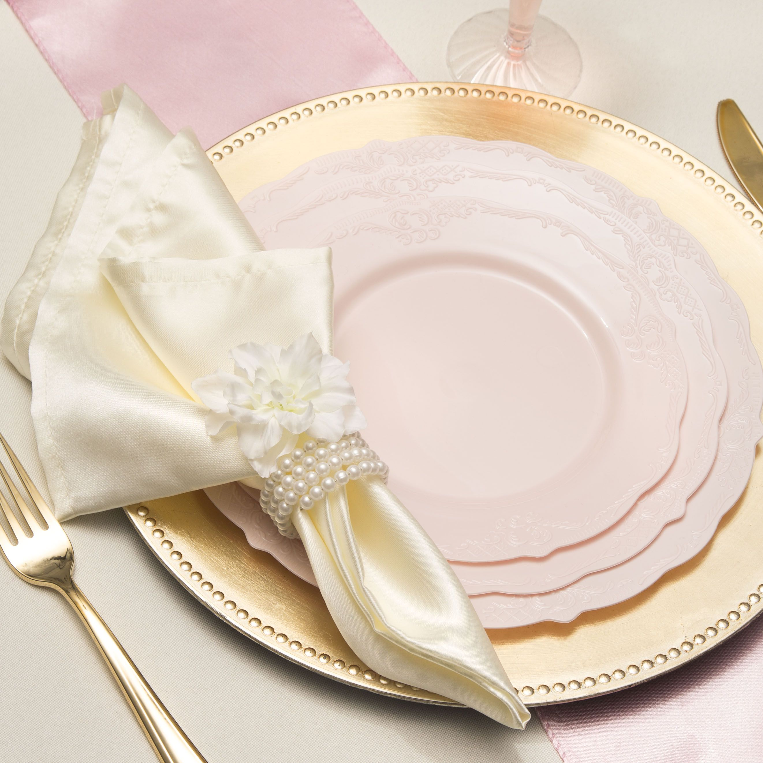 Can you tell these are plastic plates  We love when it s soft  feminine Vintage Light Pink Plastic Dinner Plates   Plastic plates  Wedding  . Tableware For Weddings. Home Design Ideas