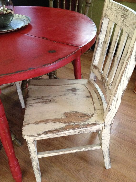 Distressed Round Country Kitchen Table // Red Table With White Chair