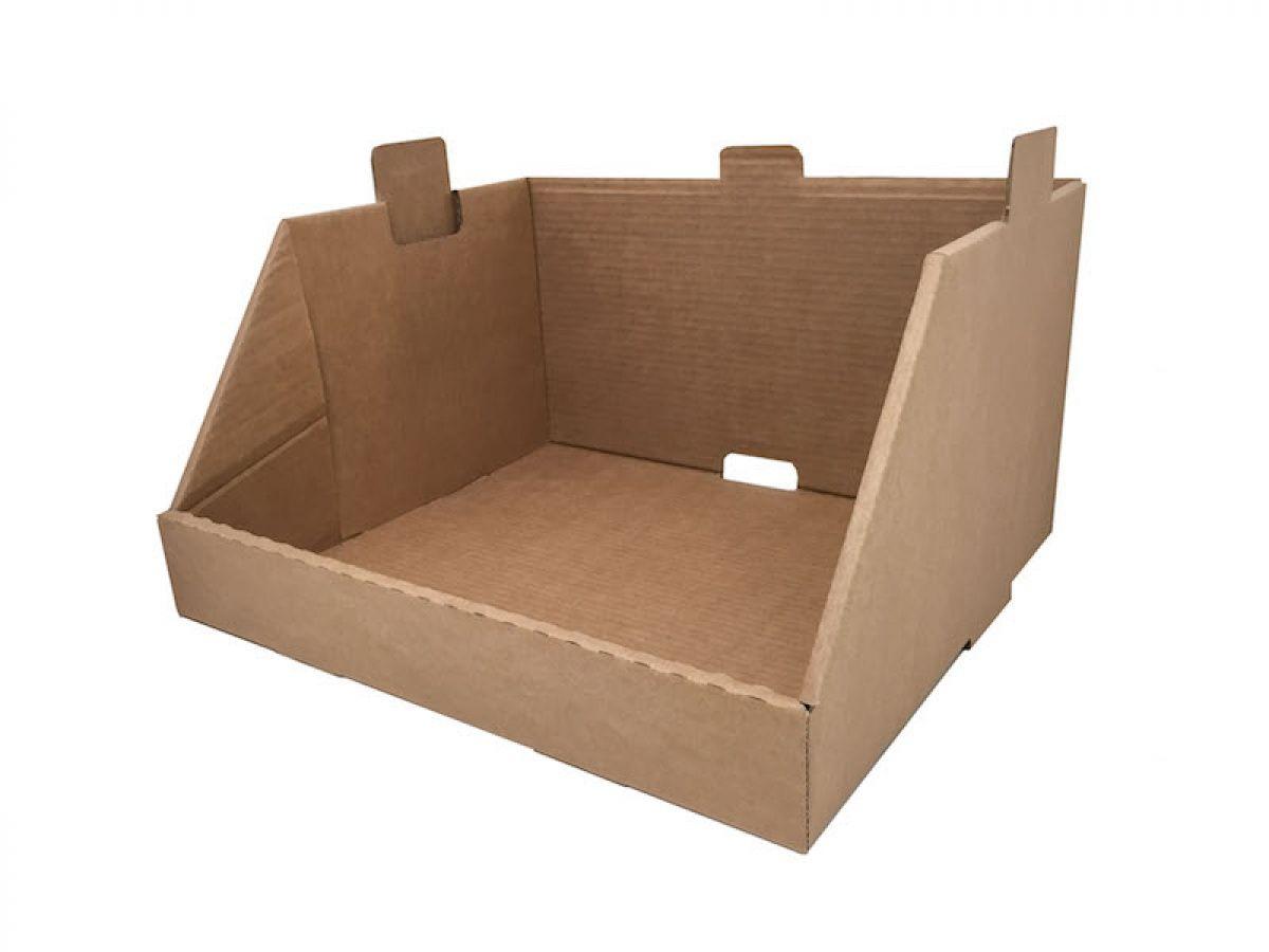 Cajón expositor o  módulo contenedor realizado en canal sencillo y automontable que nos permitirá usarlo de manera independiente o en combinación con otros, pudiendo llegar a convertirse en un mueble estantería. www.cajeando.com/blog/cajon-expositor-de-carton