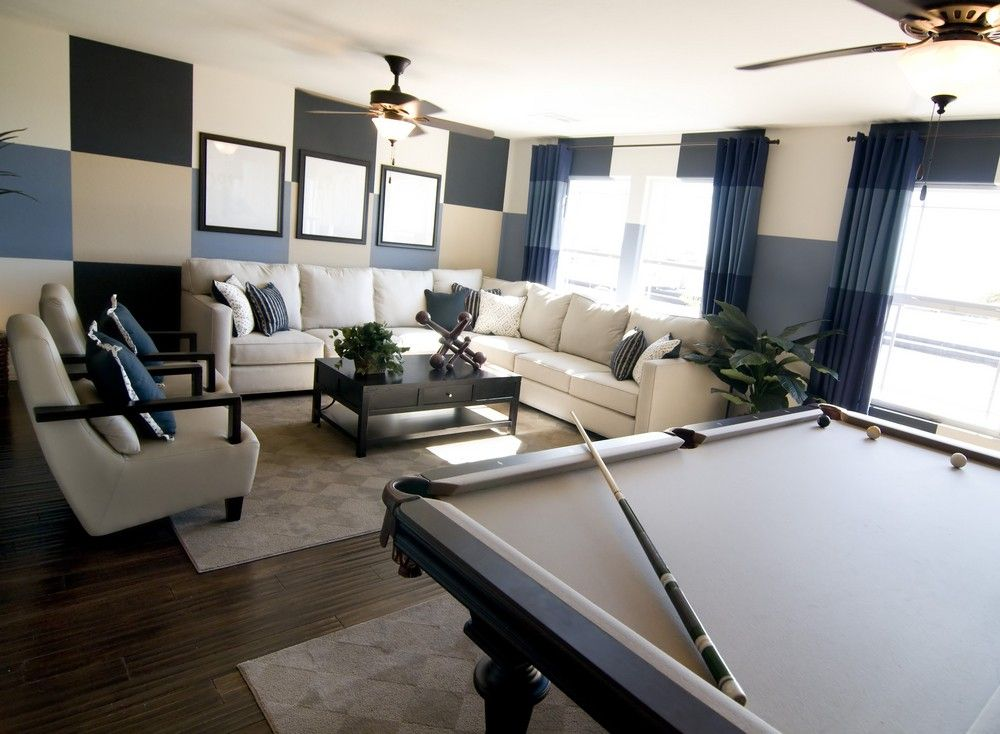 Komfortable Mann Höhle mit großem Querschnitt Sofa und Billard - großes bild wohnzimmer