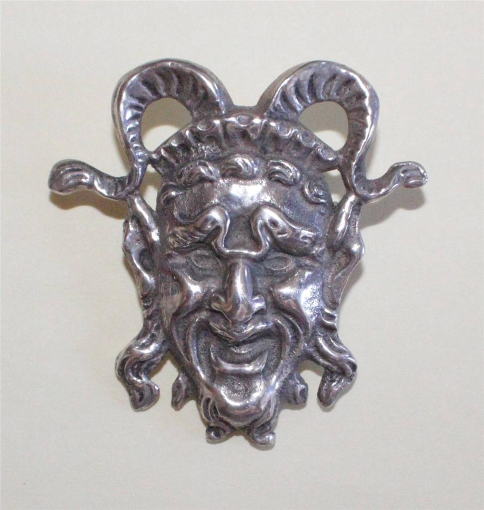 Vintage 925 Silver 16 6gr Sterling Devil Head Peruzzi Cini
