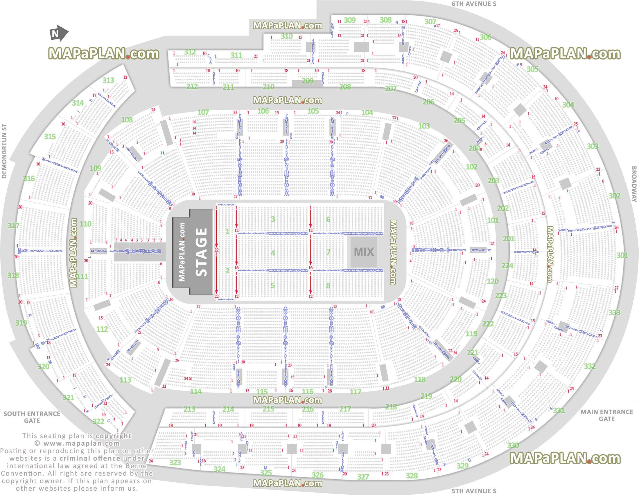 Detailed Seat Row Numbers End Stage Concert Sections Floor Plan Map Arena Lower Seating Charts The Incredibles Bridgestone