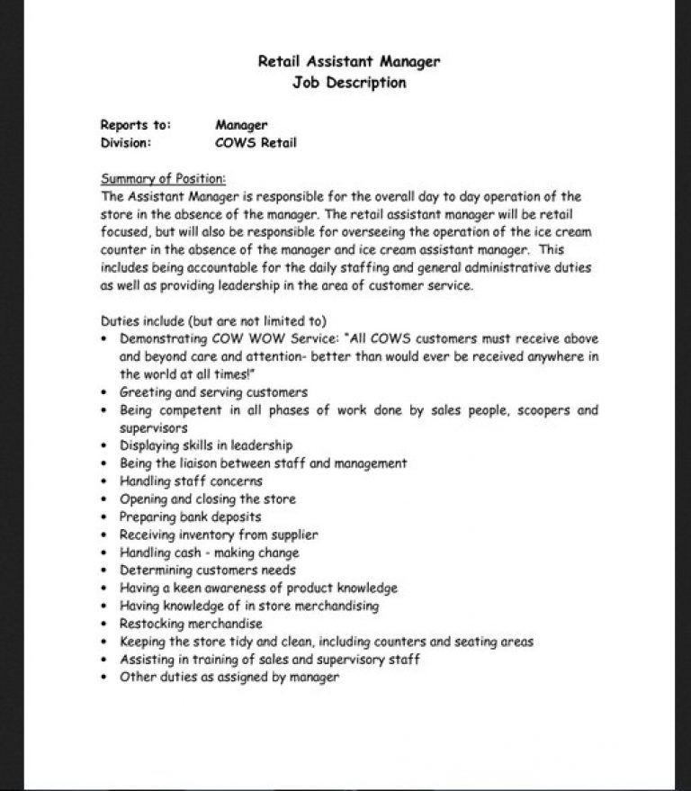 Retail job description for resume job description