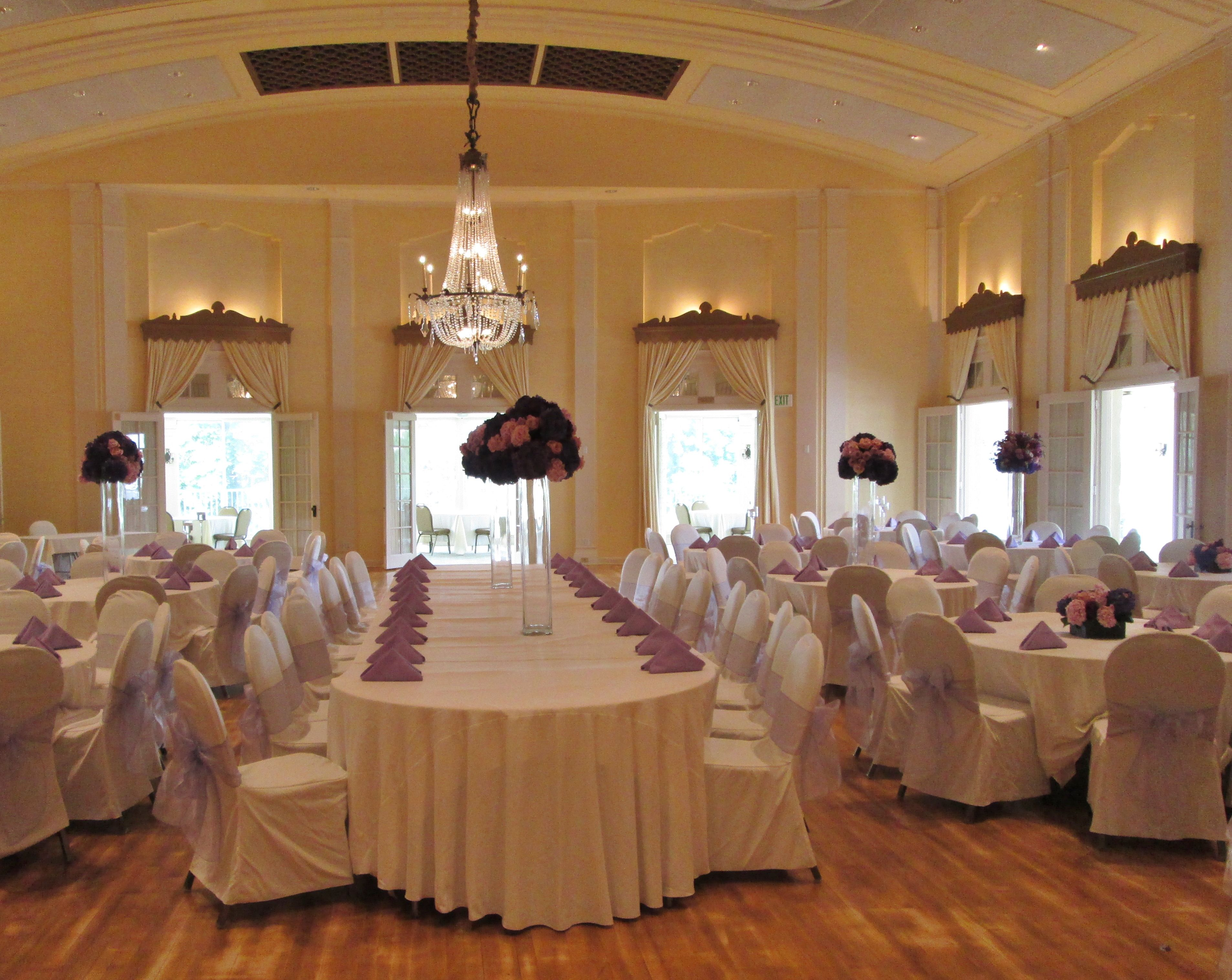 Ivory Table Linens Ivory Chair Covers with Lilac Organza Sashes