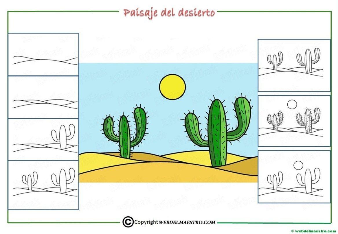 Como Dibujar Un Paisaje Para Ninos Web Del Maestro Paisajes Dibujos Paisajes Paisaje De Desierto