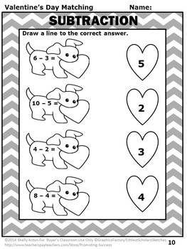 Kindergarten Valentines Day Math Worksheets, Valentines