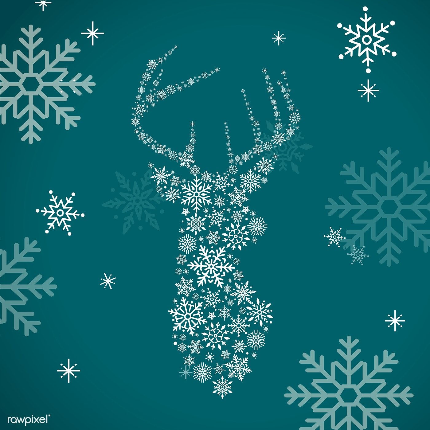 Green Christmas Winter Holiday Background With Snowflake And Reindeer Vector Free Image By Rawpixel C Holiday Background Vector Free Free Vector Illustration